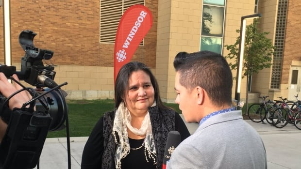 CBC Windsor News at 6 host Arms Bumanlag talks with University of Windsor professor Bev Jacobs during a remote broadcast on Oct. 19, 2017.