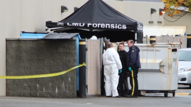 An RCMP forensics team has the area some Langley businesses taped off after a woman's body was found in a dumpster fire Friday morning.