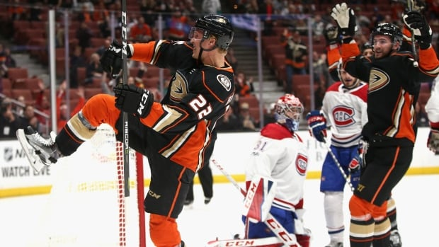 Dennis Rasmussen, left, of the Ducks reacts after scoring on Carey Price of the Montreal Canadiens during Anaheim's 6-2 win on Friday.