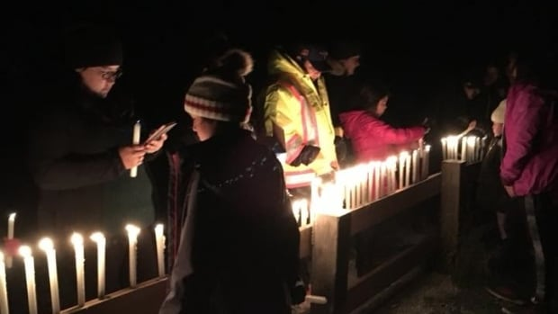 People in the community of Waskaganish gathered on Friday evening for a candlelight vigil.