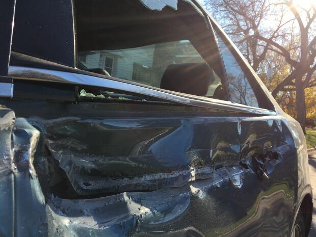 Cadillac westmount crash close up