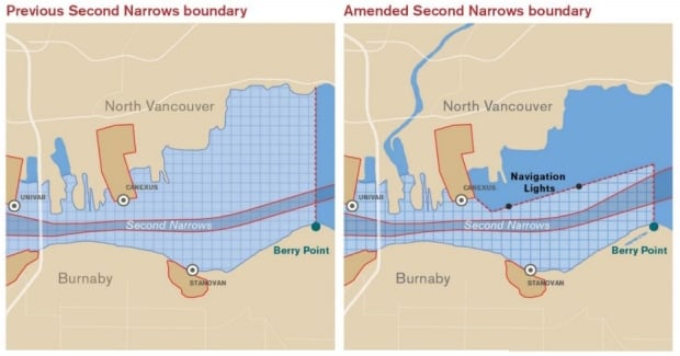 Second Narrows Port of Vancouver changes to no boating signs