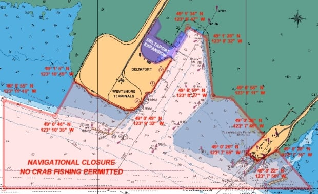 Port of Vancouver Deltaport, Roberts Bank crab closure map