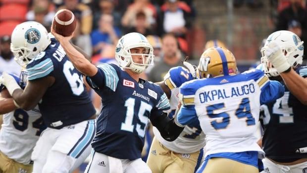 Toronto Argonauts quarterback Ricky Ray (15) passes against the Winnipeg Blue Bombers during the first half.