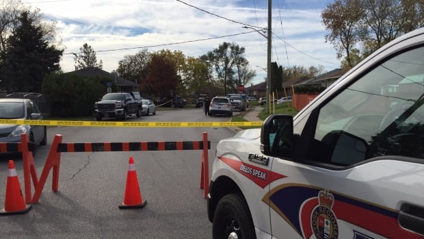 York Regional Police taped off a street in Newmarket after the shooting of 30-year-old Cody Gionet of Georgina, Ont.