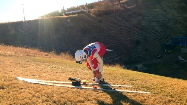 A lack of snow didn't stop competitors at the Canadian Ski Jumping championships in Calgary.