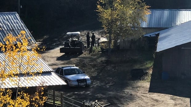 Human remains were found at a property in the 2200 block of Salmon River Road, about 25 kilometres south of Salmon Arm, on Saturday. RCMP have been at the scene for four days executing a search warrant.