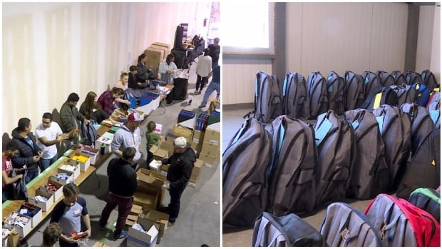 Volunteers with School Supplies For Kids, left, spent Sunday filling backpacks, which are donated to children living in domestic violence and homeless shelters in Calgary.