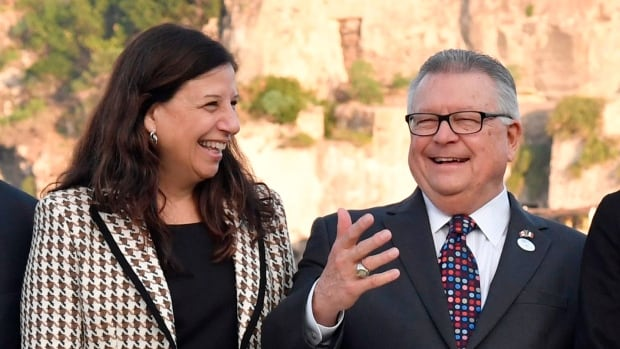U.S. Acting Secretary of the Department of Homeland security Elaine Duke, left, and Canada's Minister of Public Security and Civil Protection Ralph Goodale are seen Thursday near the Aragonese Castle of Ischia, Italy, during the summit of Interior Ministers.