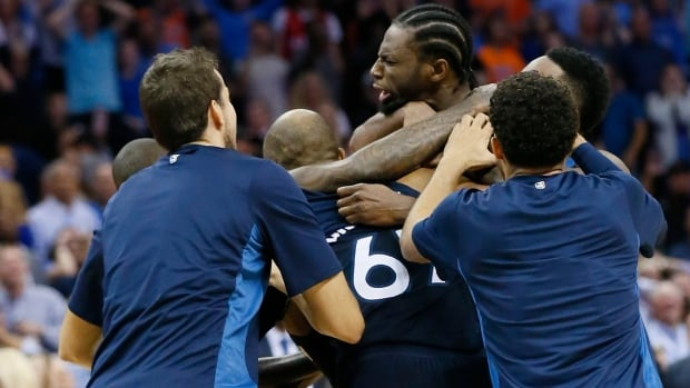 Minnesota Timberwolves guard Andrew Wiggins hit a game-winning bank shot at the buzzer against the Oklahoma City Thunder on Sunday.