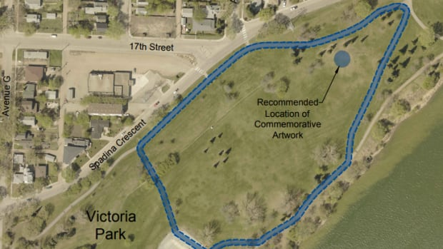 This is the area that is recommended to be renamed 'Reconciliation Circle' in Victoria Park in Saskatoon.