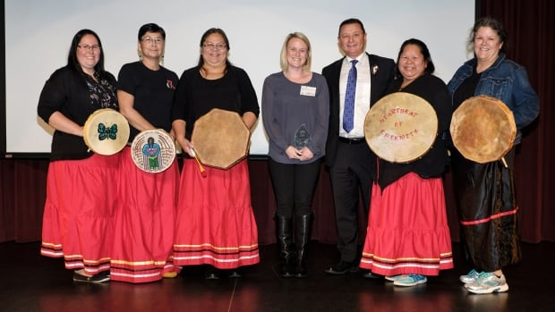 Dr. Megan Armstrong won the Community Service Award for her dedication to the Abegweit First Nation Mi'kmaq Wellness Centre.