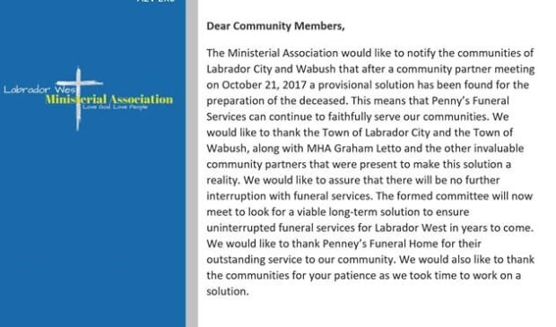 Lab West Ministerial Association Penney's Funeral