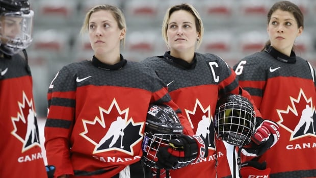 Team Canada is stocked with decorated veterans like, from left, Meghan Agosta, Marie-Philip Poulin and Rebecca Johnston, each of whom owns multiple Olympic gold medals.