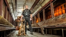 Constable Ian Carnegie and Police Service Dog Hector