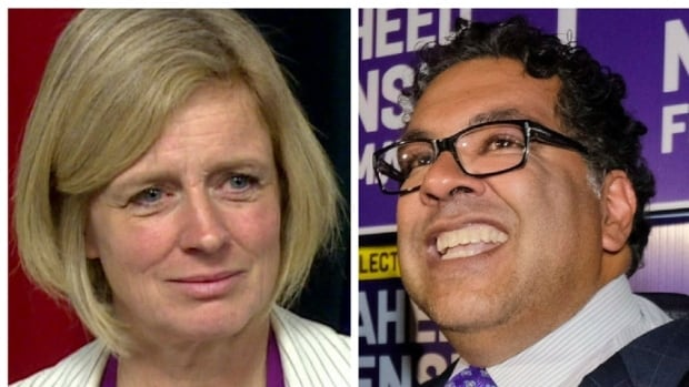 Calgary Mayor Naheed Nenshi, right, handily won re-election last week, to the surprise of some pundits who predicted voters might associate him with the unpopular provincial NDP, led by Alberta Premier Rachel Notley.