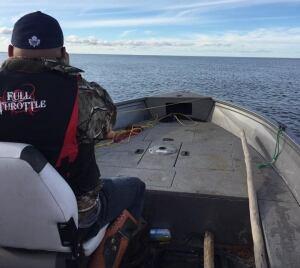 John Weistche on search boat