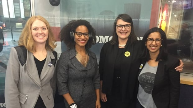 From left to right: Dawn Newton, CBC Radio's Portia Clark, Brandy Burdeniuk and Nafisa Bowen. This photo was taken during their first political panel before the election.