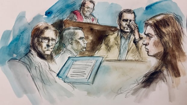 From left to right: Dellen Millard, Mark Smich, Justice Michael Code, Clayton Babcock and Crown lawyer Jill Cameron in court on Monday.