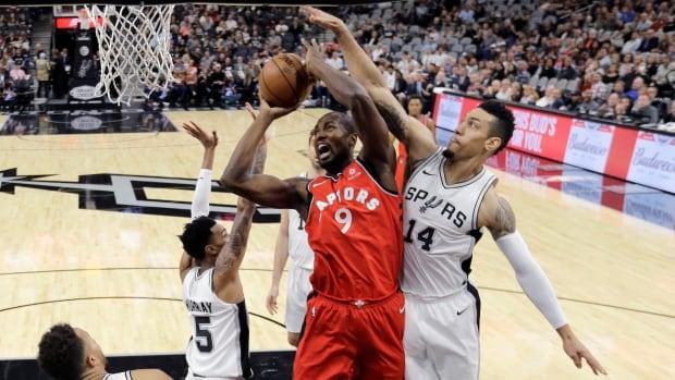 Toronto Raptors forward Serge Ibaka scored 13 points in his team's 101-97 loss to the San Antonio Spurs Monday.