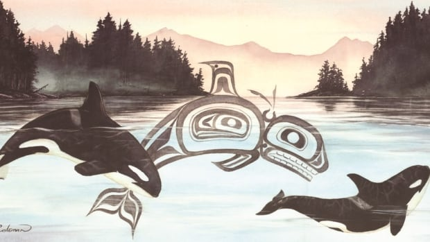 Non-Indigenous artist Sue Coleman's Spirit Of The Orca print from 1994.