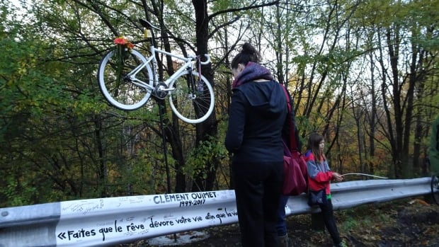The ghost bike, a white bicycle placed at the scene of fatal cycling accident, was installed on Mount Royal Wednesday morning.