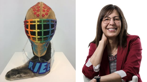 Calgary-based artist Judy Anderson has won a national art prize with her piece 'This one brings me the most pride.' The installation combines beads, moose hide, otter skin and a goalie mask.