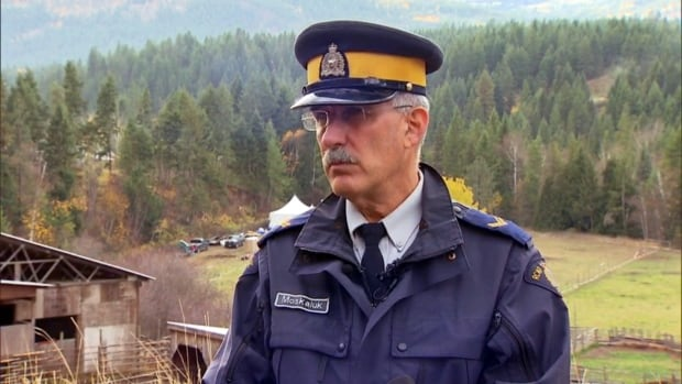 It's 'too early in the investigation' into remains found on a B.C. farm last weekend to speculate they are linked to any missing persons investigation, RCMP Cpl. Dan Moskaluk told reporters outside the Sagmoen family farm near Salmon Arm in B.C.