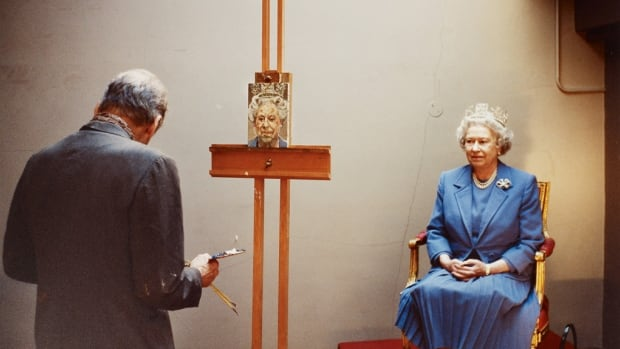 David Dawson painted this image of the Queen siting for a portrait session with artist Lucian Freud, in 2001. A Freud self-portrait will also be on display.