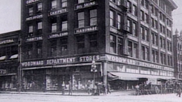 History professor Katharine Rollwagen says many downtown department stores like the Woodward's building in Vancouver were built as architectural showpieces.