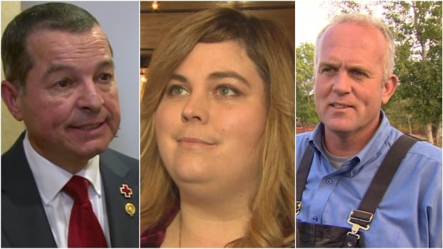 Jim Burton, left, Nicole Kieley and Jim Lester are the three candidates for the Mount Pearl North byelection on Nov. 21.