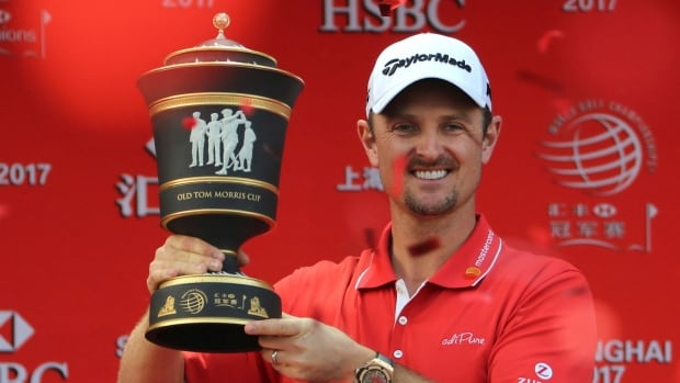 Justin Rose, seen above, took advantage of a record-tying collapse by World No. 1 Dustin Johnson and rallied from eight shots behind to win the WGC-HSBC Champions golf tournament at the Sheshan International Golf Club in Shanghai, China, on Sunday,