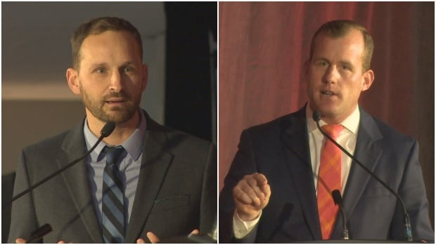 Ryan Meili (left) and Trent Wotherspoon (right) are the two men battling for leadership of the Saskatchewan NDP.