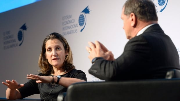 Chrystia Freeland, minister of foreign affairs and Frank McKenna, deputy chair of the TD Bank Group, participate in a panel discussion at the 11th edition of the Toronto Global Forum on Monday October 30, 2017.