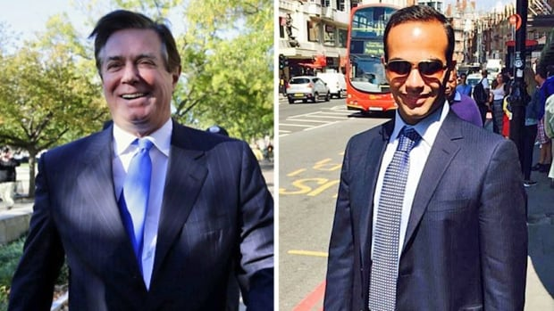 Former Trump campaign manager Paul Manafort, left, was indicted on Monday by U.S. Special Counsel Robert Mueller's team investigating collusion between the Russians and the Trump presidential campaign. Despite his high-level status in the Trump campaign, a bigger threat to the Trump administration could be a former 'volunteer' named George Papadopoulos, right.
