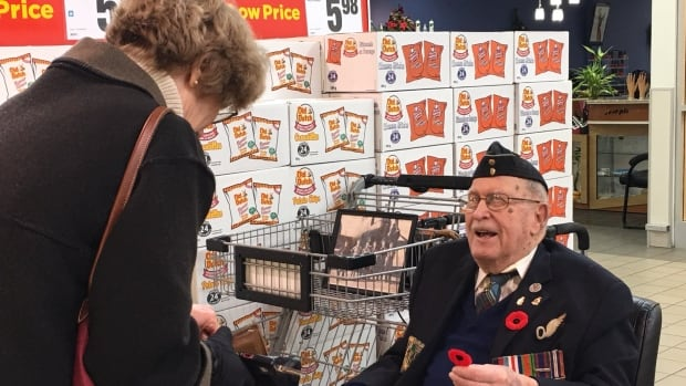 Second World War air force veteran Arthur Anderson, 99, has been selling Remembrance Day poppies for decades.