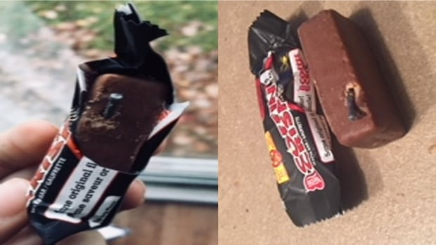 A parent discovered a nail in one tricker-or-treater's chocolate bar from a home on Edgewood, Centennial or Broadview streets in Bathurst, according to the police.