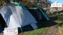 Homelessness protest camp at Oak Bay cenotaph