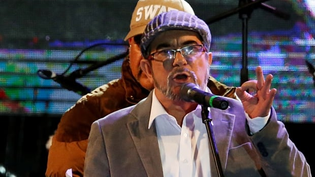 FARC leader Rodrigo Londono, known by his nom de guerre Timochenko, speaks during the launching of the new political party Revolutionary Alternative Common Force on Sept. 1.