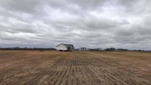 This house showed up on Patrick Maze's property near Pilot Butte, Sask., unannounced last Thursday.
