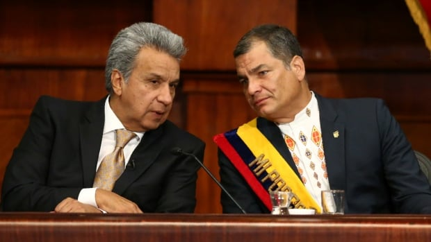 Ecuador's Lenin Moreno, left, and Rafael Correa are seen on May 24 during Moreno's inauguration ceremony in Quito, but the new president has since angered the Country Alliance power broker Correa.