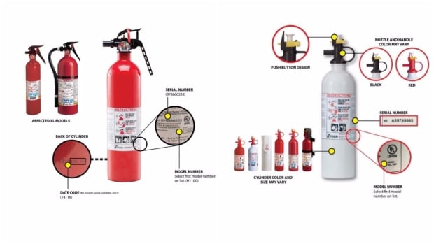 U.S. consumer safety authorities are recalling almost 40 million units of two types of fire extinguishers, which were sold under 134 different brand names. They include about 2.7 million sold in Canada.