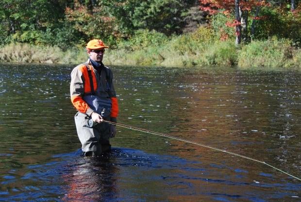 Atlantic salmon, fisherman, fishing, river October 2015 - Matthew Ramsay fishing the Cains River
