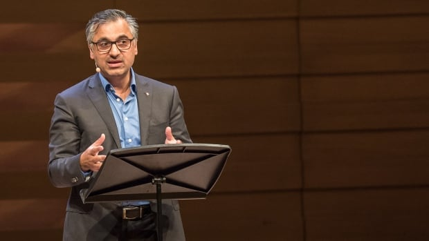 Human rights scholar and lawyer Payam Akhavan speaks at the final stop of the Massey Lectures tour at Toronto's Koerner Hall.