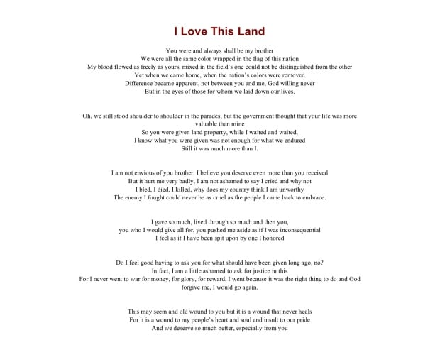 Chief Stacey Laforme's I Love This Land in English