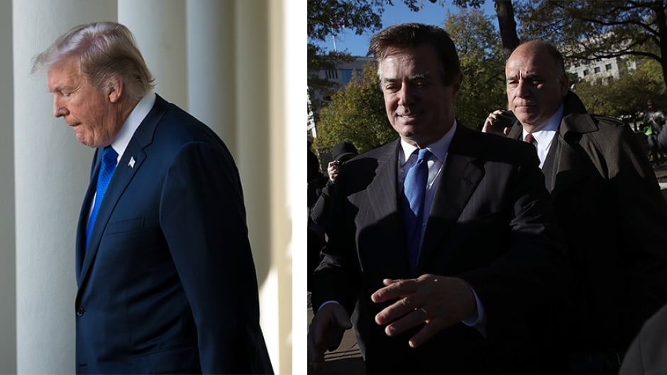 (Left) Donald Trump says he does not recall any conversation with George Papadopoulos that involved the Russian government. (Centre) Former Trump campaign chief, Paul Manafort, and business associate (right)Rick Gates, were both indicted this week.
