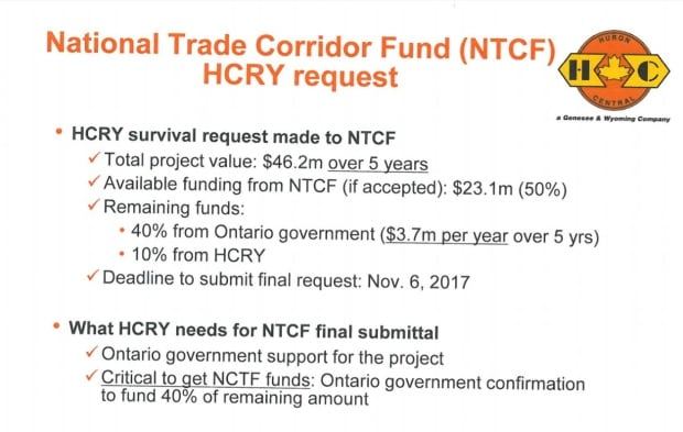 Huron Central Railway funding request