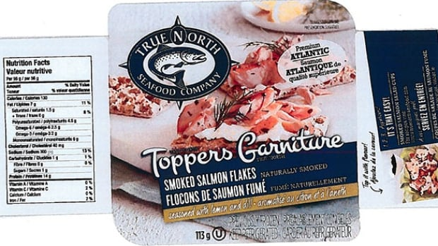 The recall applies to the 113-gram package of Toppers Smoked Salmon Flakes seasoned with lemon and dill that have a product code of 7838 and best before dates up to and including Nov. 17, 2017.