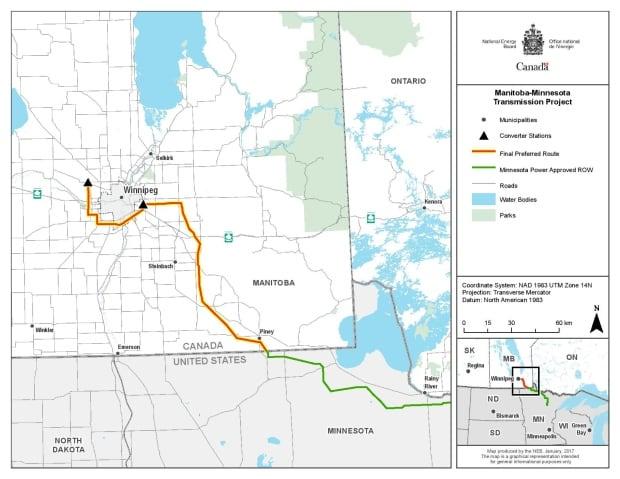 Manitoba-Minnesota Transmission Project map