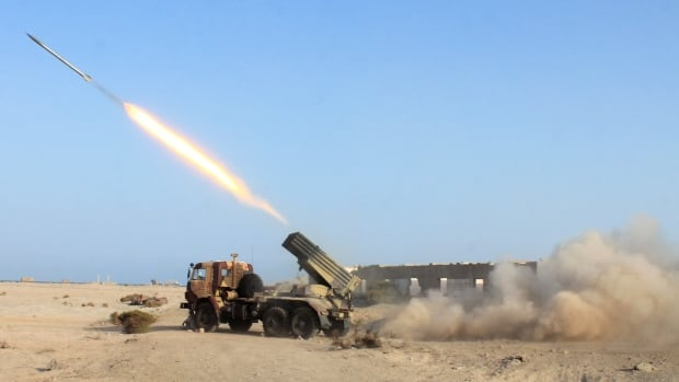 Rockets are launched during clashes in the port city of Aden, Yemen, in April 2015. Houthi and allied forces loyal to former Yemeni president Ali Abdullah Saleh have fired dozens of missiles into Saudi territory over the course of a 2½-year war.